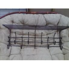 Вешалка металл с крючками и полкой